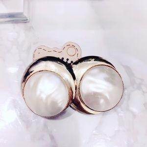 Gold Tone Faux Pearl Statement Earrings